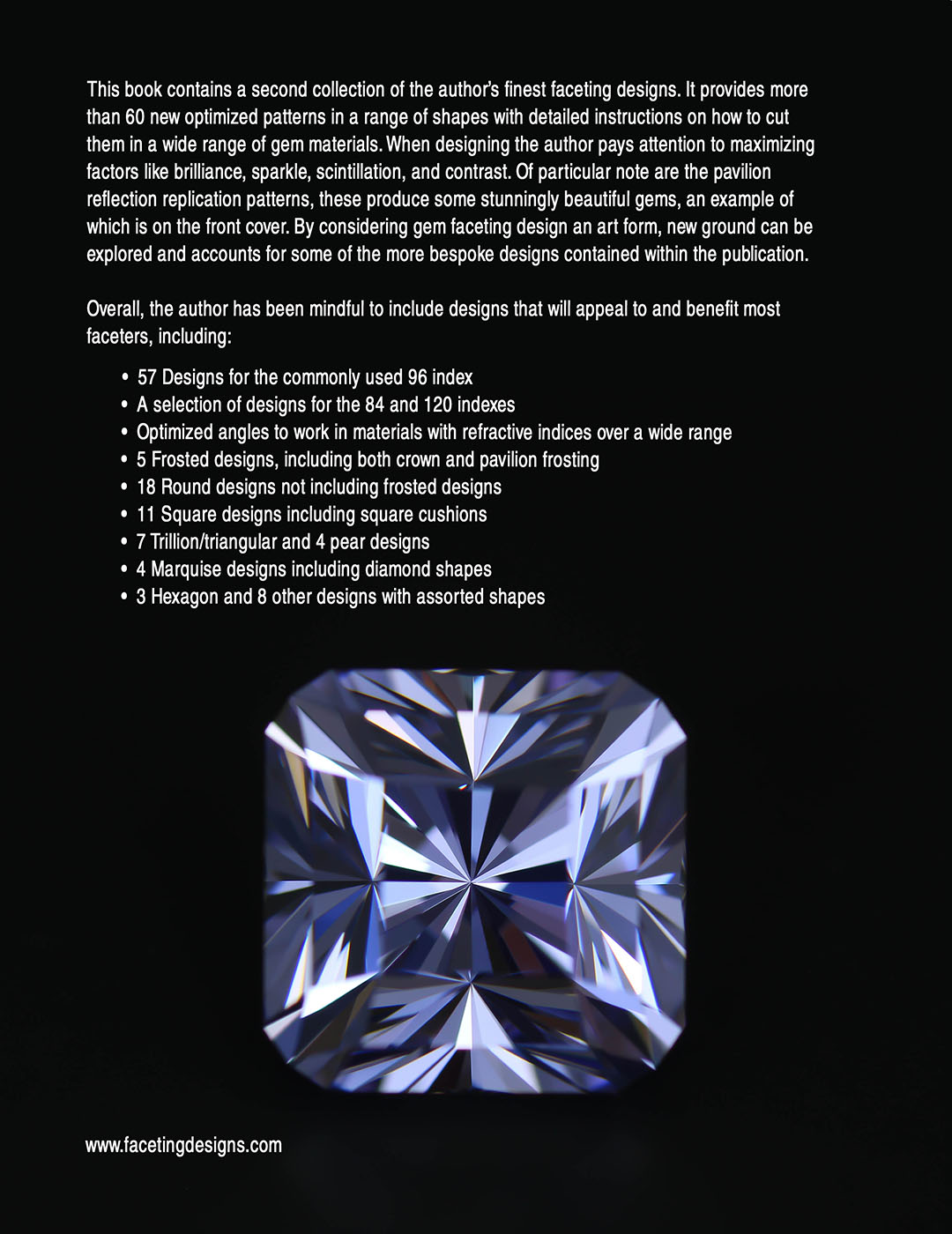 A collection of my best Gemstone Faceting Designs Volume 1 Back Cover gem facet diagrams