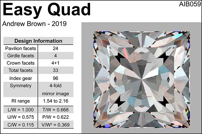 Free Gemstone Faceting Design by Andrew Ian Brown Easy Quad facet Diagram