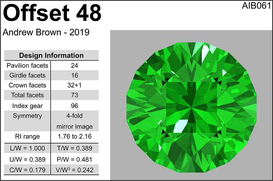 Free Gemstone Faceting Design by Andrew Ian Brown Offset 48 facet Diagram