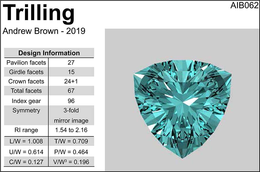 Free Gemstone Faceting Design by Andrew Ian Brown Trilling facet Diagram